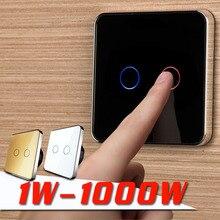 Jiubei, EU Standard, Wall Switch ,Black Crystal Glass panel, 2 Gangs 1 Way, Light Touch Screen Switch, C702-12