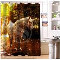 W522#68 Custom brown white black horse s3 Modern Shower Curtain bathroom Waterproof Free Shipping #fj68