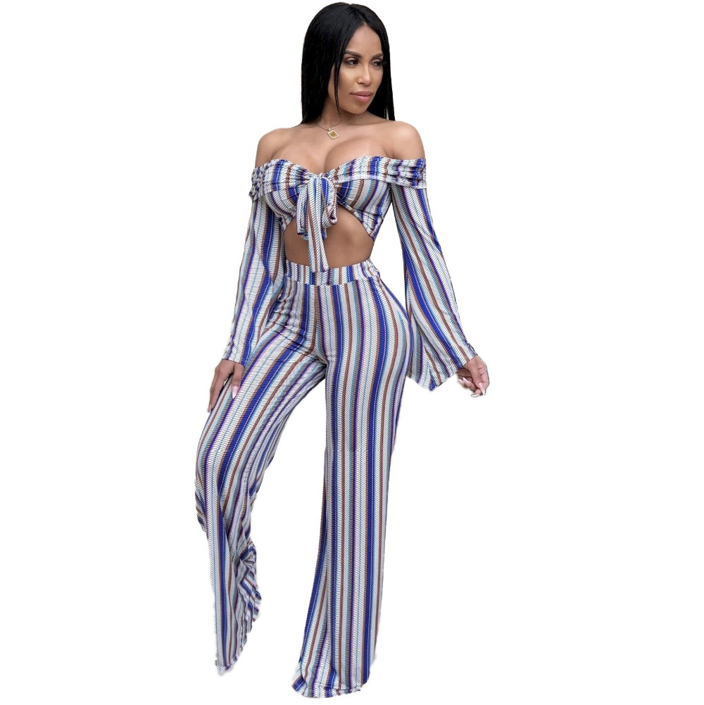 67bab86f3c8 2 Piece Set Bodysuit For Women Vertical Striped Strapless Bow Crop Top Club Jumpsuit  Hollow Out Flare Sleeve High Waist Rompers-in Jumpsuits from Women s ...