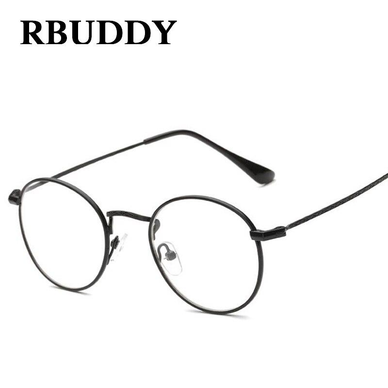 RBUDDY Eyeglasses Women Men Round Clear Lens Glasses Metal