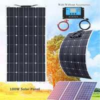 100W Panel Solar Flexible con 20A Controlador Solar para coche de Cable para RV barco casa techo Camping SUV Cargador Solar 12V