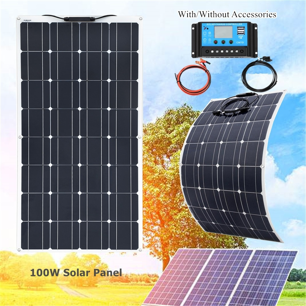Xinpuguang marca 100 w flexível painel solar kit 100 watt 120w para casa, iate, rv, caravana, cabine, barco e carregador de bateria 12v