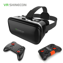 VR Shinecon 6.0 3D Virtual Reality Glasses Google Cardboard VR Box Headset Helmet For 4.3-6.0 inch Smartphone With Gamepad