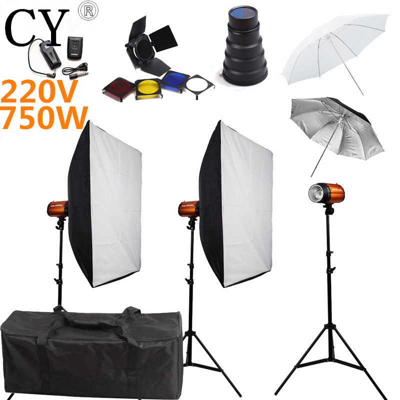 Godox Smart 250SDI Photography Softbox Flash Lighting Kits 750W 220V Flash Light Lightbox Stand Set Photo Studio Accessories godox smart 300sdi photography studio soft box flash lighting kits 600ws strobe light softbox stand set photo studio accessories
