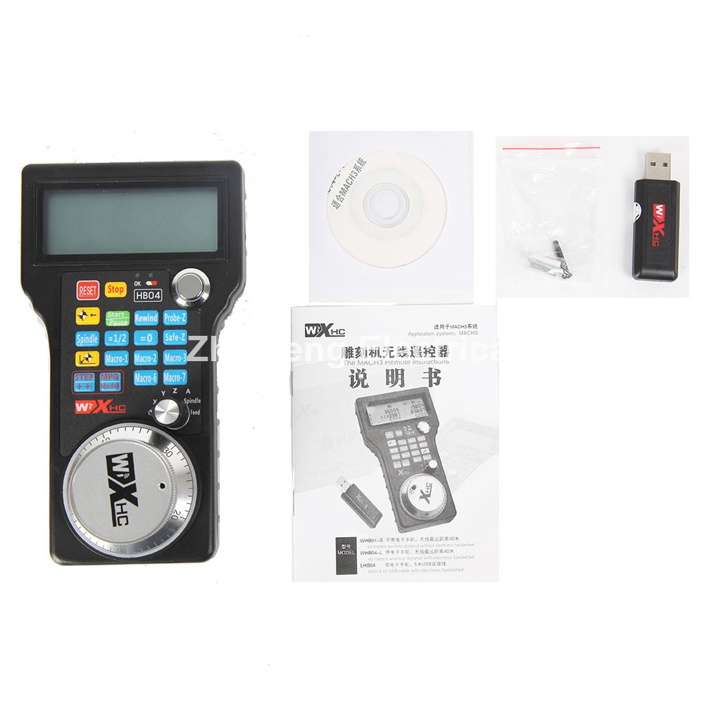Wireless Mach3 MPG Pendant Handwheel for CNC Mac.Mach 3, 4 axis Wholesale Price (HandWheel-04) handy pulser mpg handwheel 4 axis 100ppr 5v 15v manual pulse generator use for fanuc fagor cnc system with cable
