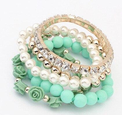 Bracelets for Women Gifts Charm Bracelets & Bangles Jewelry Cute Beads Flower Bijoux Elastic Pulseira Feminina Pulseras Mujer