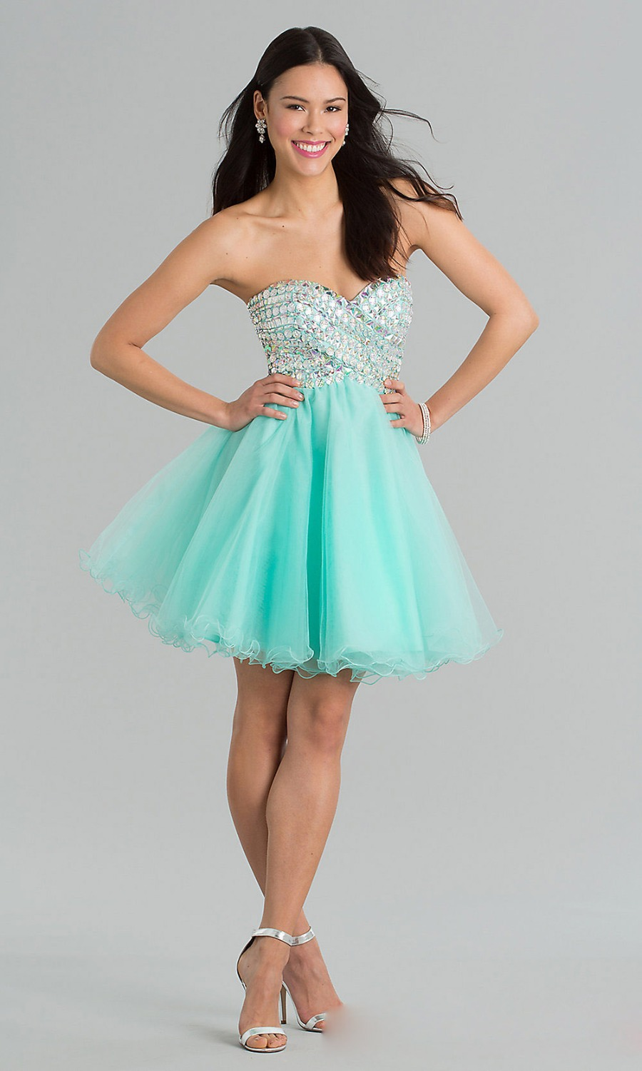 Glaring Crystal Mint Green Short Prom Dresses Sweetheart Mini Puffy ...