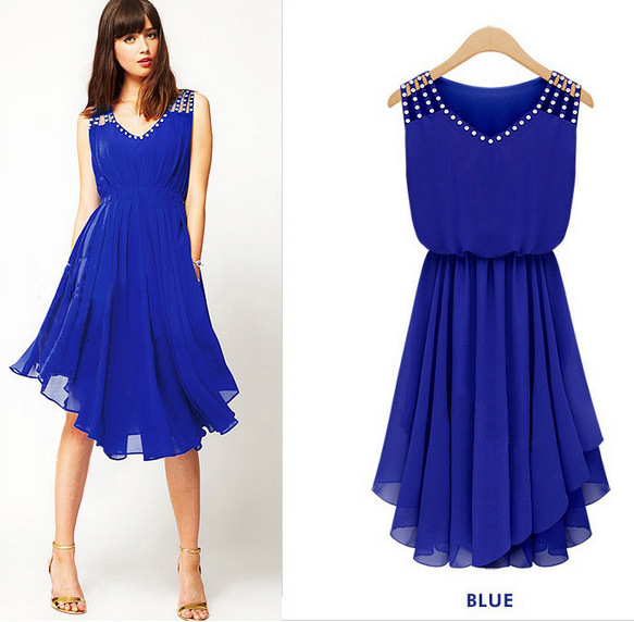 4d91d3963 Summer Dress 2016 Vestidos Chiffon V Neck Keen Length Casual Pleated Sexy  Party Dresses Plus Size Black Blue WQW433