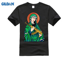 100% Cotton O-Neck customised T-shirt  Blessed Virgin Mary Madonna Kalashnikov Gun t-shirt Top Pure Men T Shirt