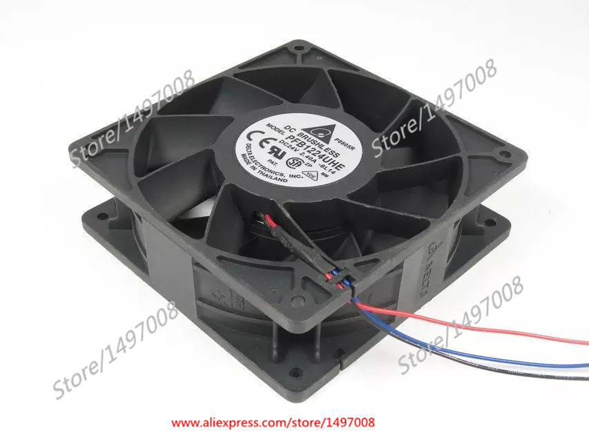 Free Shipping For DELTA  PFB1224UHE, -6L14  DC 24V 2.40A 3-wire 3-pin 100mm 120x120x38mm  Server Square cooling fan free shipping for delta efb0612ha ar08 dc 12v 0 18a 3 wire 4 pin 120mm 60x60x10mm server square cooling fan