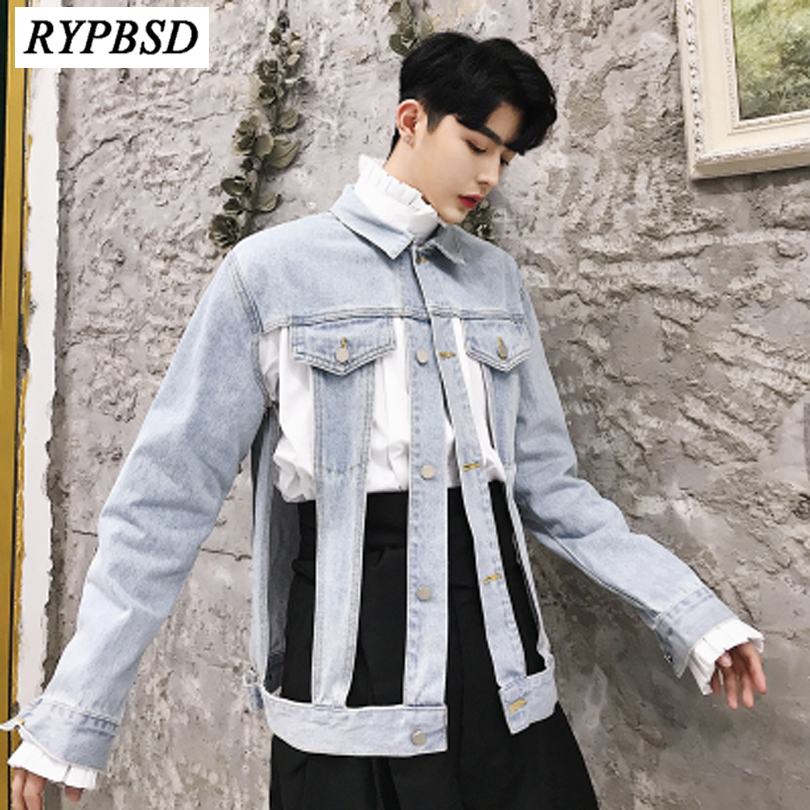 Mens Denim Jacket Coat 2019 New Fashion Cool Hollow Men's Cotton Denim Mens Jacket Man Jean Coat Casual Denim Jacket