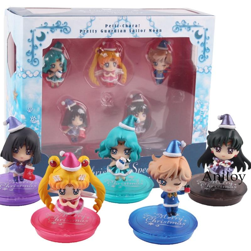 Sailor Moon Christmas Special Chibi Usa Sailor Chibimoon + Saturn + Uranus + Neptune + Pluto PVC Figures Toys 5pcs/set