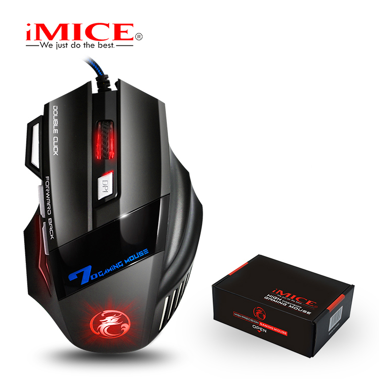 iMice Silent Wired Gaming Mouse Mute 2400DPI Mouse Gamer 7 Button USB Cable Optical Game Computer Mice for Laptop Video Game X7 x lswab l9 wired usb 2 0 800 1200 2000dpi optical game mouse red 150cm cable