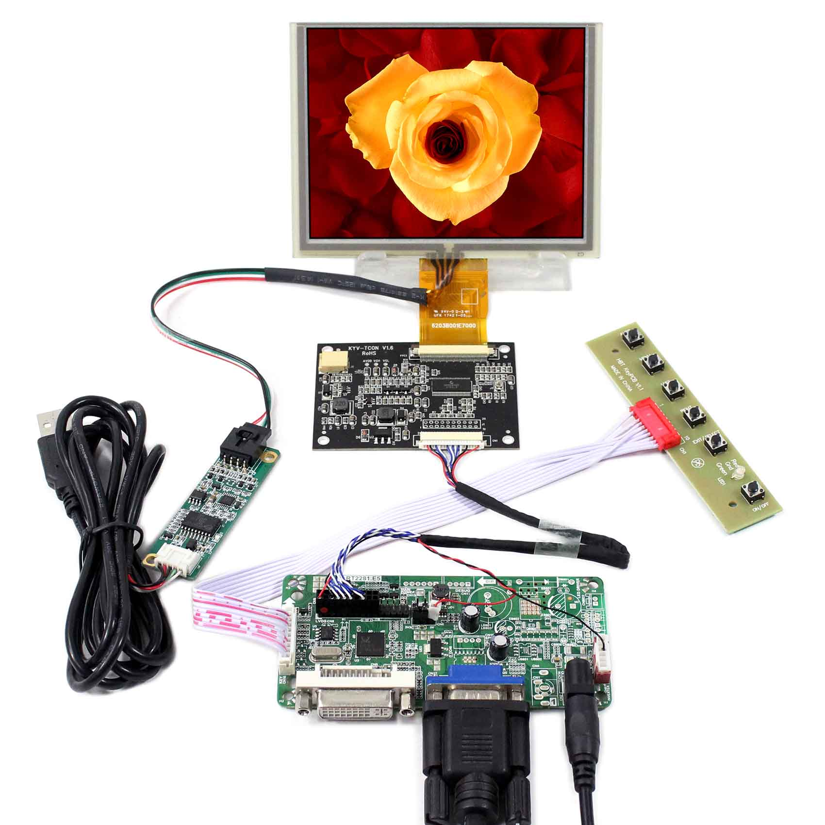 цена на DVI VGA LCD Controller Board With 5inch 640x480 ZJ050NA-08C Touch LCD Screen