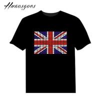 Горячие продажи EL Led футболка с короткими рукавами и круглым вырезом звук включен Флаг Дизайн футболки хлопковые футболки брендовая футбол...