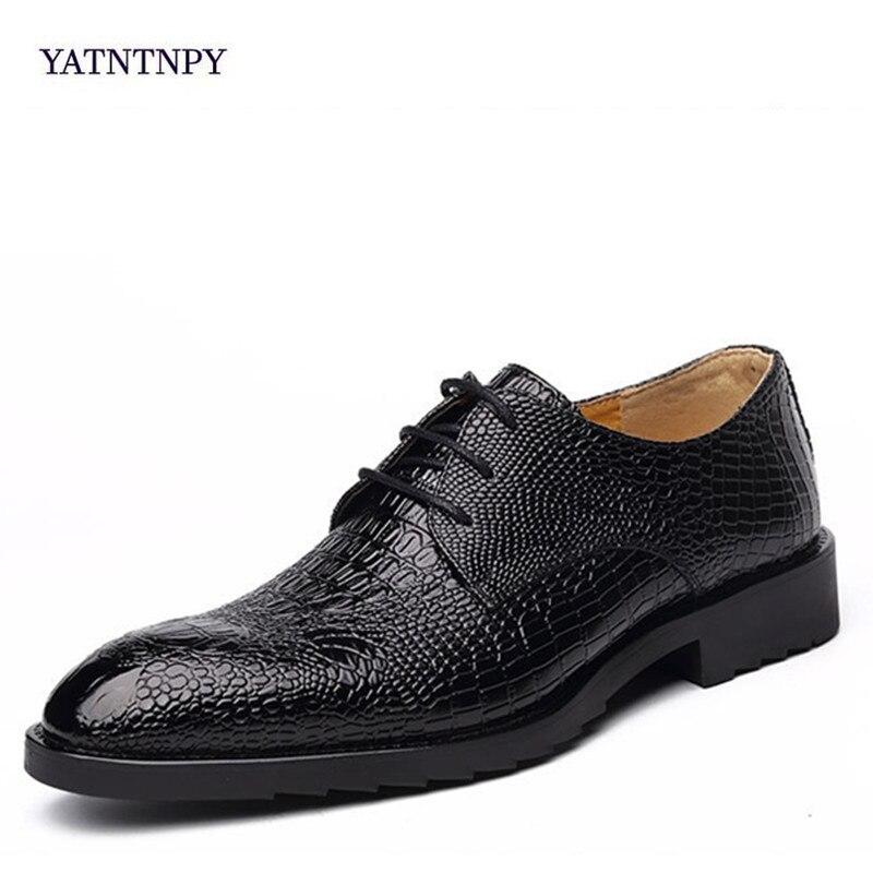 Yatntnpy Moda Primavera Outono Dos Homens No brown Formal Padrão E Sapatos Crocodilo Da Apontou Black Inglaterra Negócio Vestido wwpI16