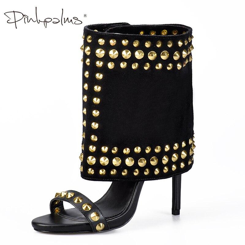 As Palmas Das Mãos de rosa Sapatos Femininos Sandálias e Eixo de Duas Peças Definir sapatos De salto Alto com Rebites Moda Venda Quente Paixão Das Mulheres Tornozelo sandálias Botas