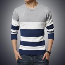 2017 New Brand Twist Sweater Knitting Winter Men's O-Neck Cotton Patchwork Stripe Sweater Pullover Sweater Men N-5