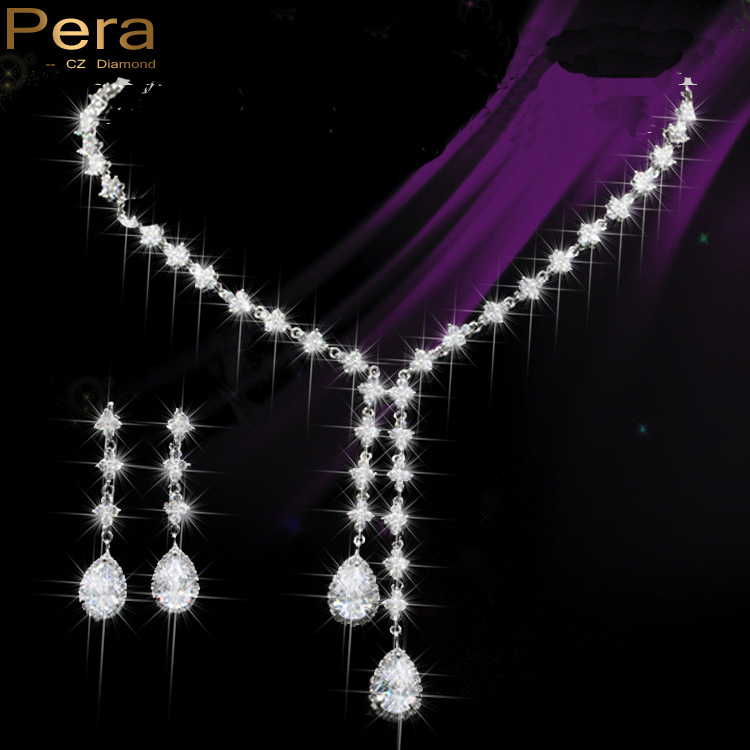Pera Sparkling Silver Color Luxury Wedding Party Long Waterdrop Cubic Zirconia Necklace And Earrings Jewelry Set For Women J130 stylish faux opal rhinestone waterdrop necklace and a pair of earrings for women