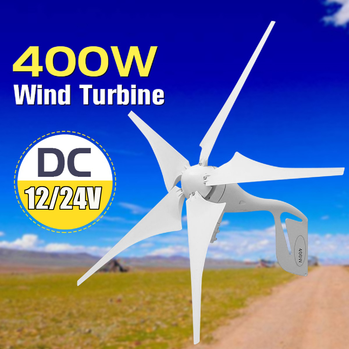 Wind Turbine 400W Wind Power Generator 5 Blades + DC 12V/24V Waterproof Charge Controller 300/600W Wind Energy Turbine Generator 400w wind generator 12v 24v 48v maglev generator wind turbine with water proof controller 600watt 2 blades 1 3m started