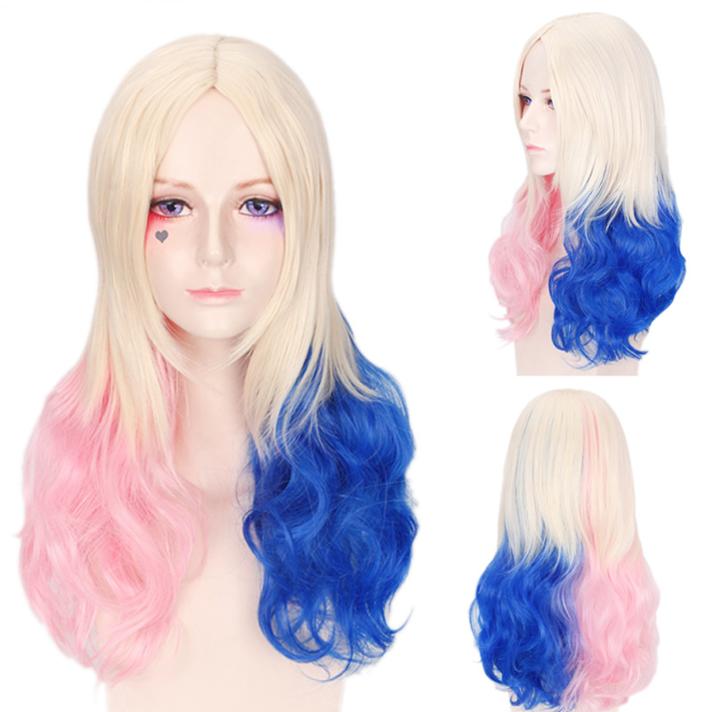 VEVEFHUANG Pink Blue Blonde Mix Harley Quinn Suicide Squad Batman Synthetic Wig Harleen Quinzel Cosplay Costume Wig Hair