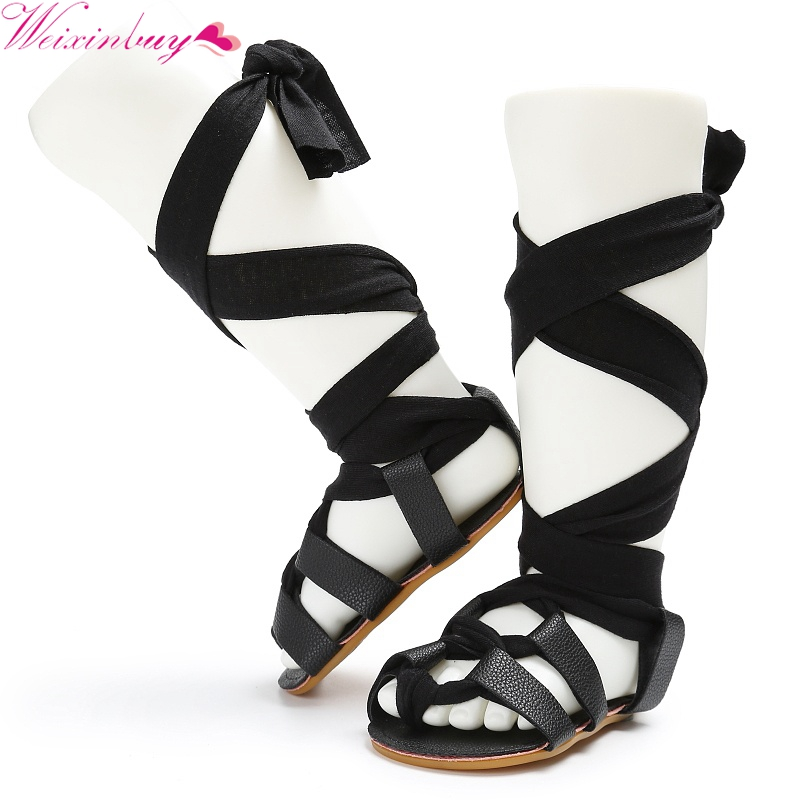Fashion New Baby Girl Shoes Baby Girl Sandals Toddler Gladiator Bandage Hollow Sandals Skid Proof Rubber Soles Sandals 8 Colors