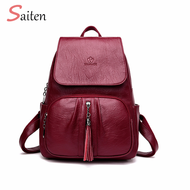 15b756b313 Tassel Women s Backpack High Quality PU Leather Backpack Female Backpack  Solid Bag For Fashion Girl Mochila Casual Bag For Women