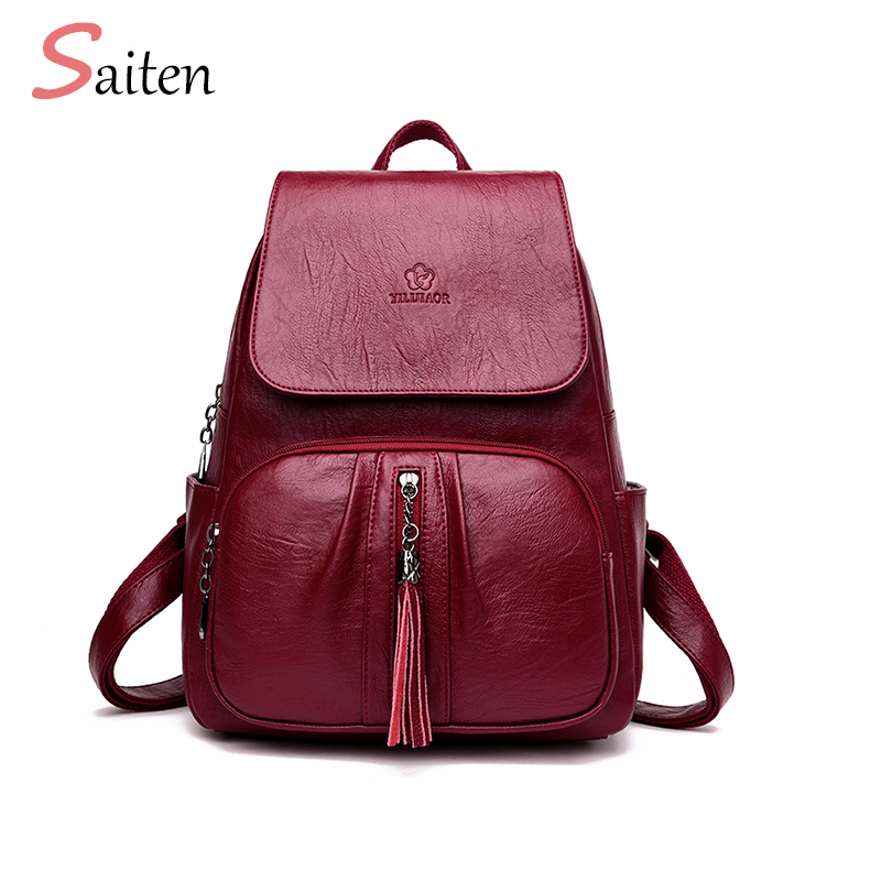 Tassel Women's Backpacks High Quality PU Leather Backpack Female Solid School Bag For Girl Fashion Mochila Casual Bags For Women jxsltc womens pu leather rivet backpack female backpack for adolescent girl casual small backpacks women pouch fashion lady bag