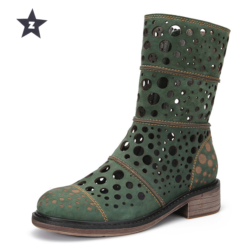 Z mi-mollet bottes femmes cuir chaussures femmes sandales rétro trou creux été sandales femme chaussons zipper bas talons femmes bottes