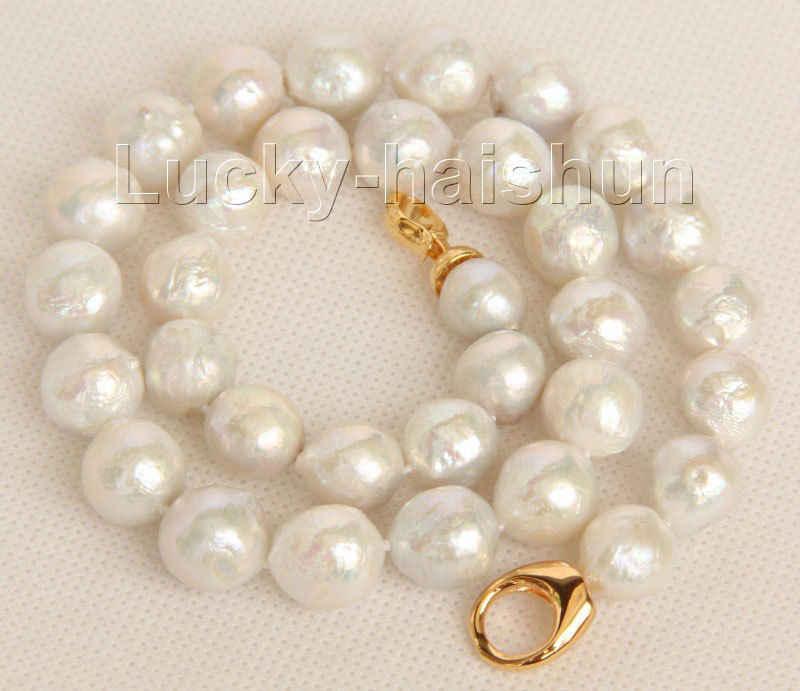 """18 """"13 мм возле круглого белый Reborn кеши жемчуг ожерелье заполнено золото j9804"""