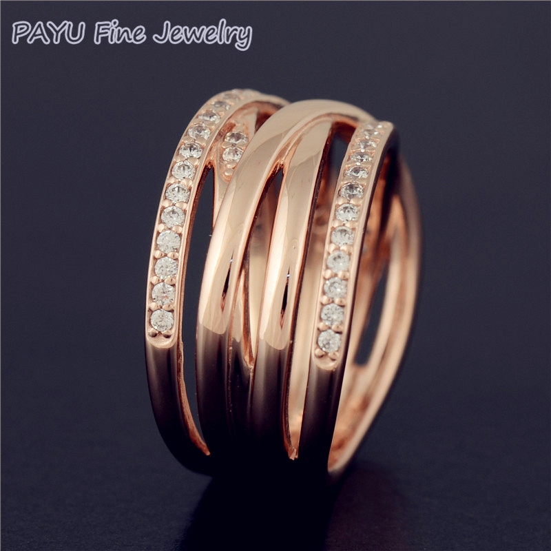 PAYU High Quality Solid 14k Rose Gold Entwined Ring For Women With Gemstone Wedding Rings Fine Jewelry