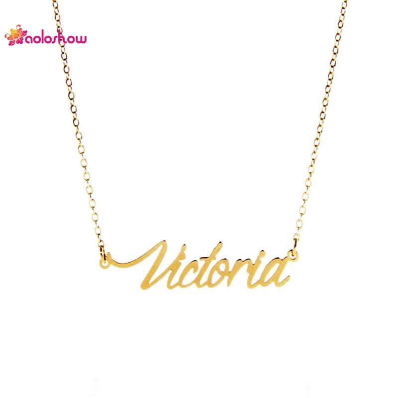 AOLOSHOW Necklace Women Script Name