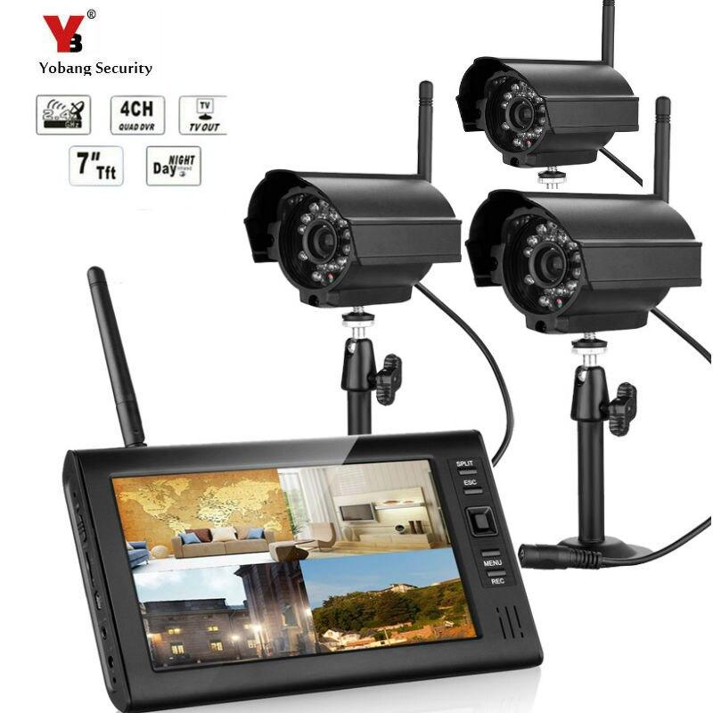 7 LCD Monitor Home Security 3 Camera System 2.4G Wireless Quad SD Recording PIR Alarm 4CH Digital CCTV DVR Surveillance Kit DIY
