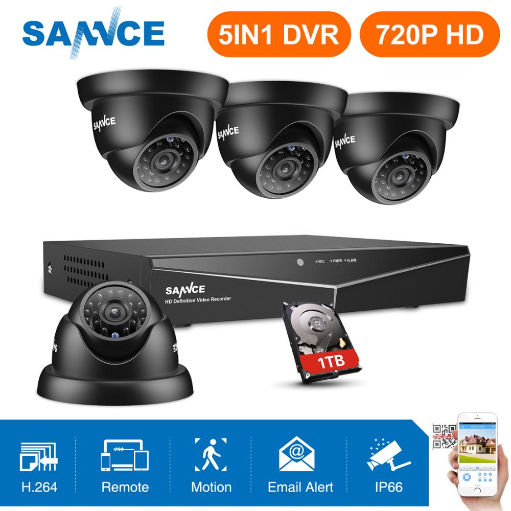 4 pcs SANNCE 8CH 1080N HDMI DVR Sistema de CFTV Câmeras de Segurança 720 P IR Indoor CCTV de Vigilância de Vídeo Ao Ar Livre À Prova D' Água kit