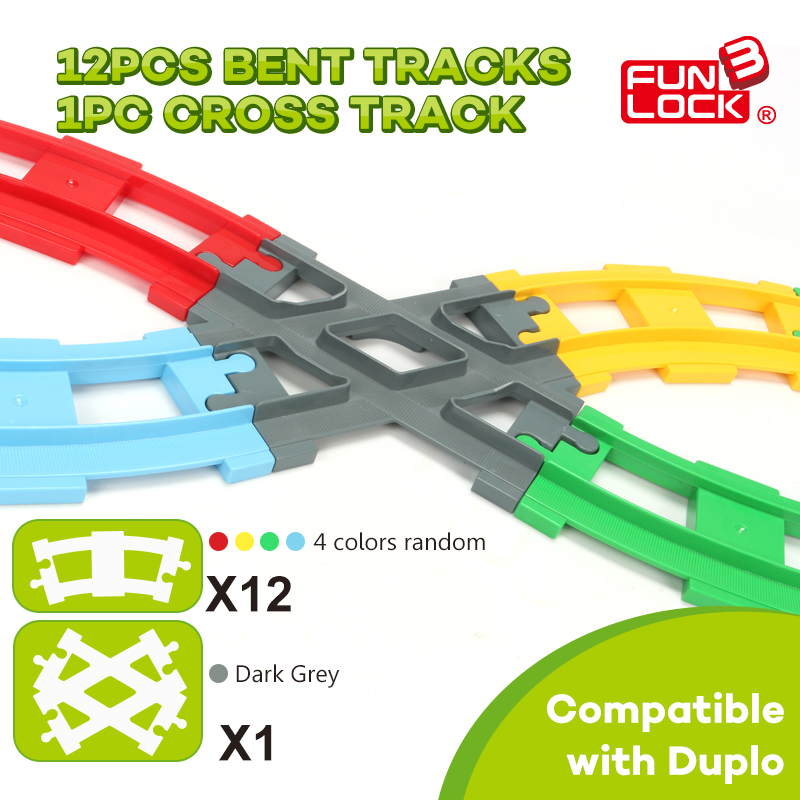 Funlock Duplo Blocks Train Track Round & Cross Railway Assembling Parts Educational Toys for Kids Bricks Bent Tracks Cross Track singdio train track big building blocks carriage cross straight curved furcal rail kids educational toys compatible with duplo