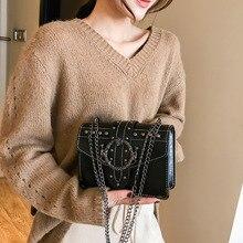 European Fashion Female Square Bag for 2019 New Quality PU Leather Womens Designer Handbag Rivet Lock Chain Shoulder Messeng