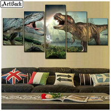 Animal diamond painting dinosaur picture full square drill mosaic 3d embroidery leopard 1 set 5pcs