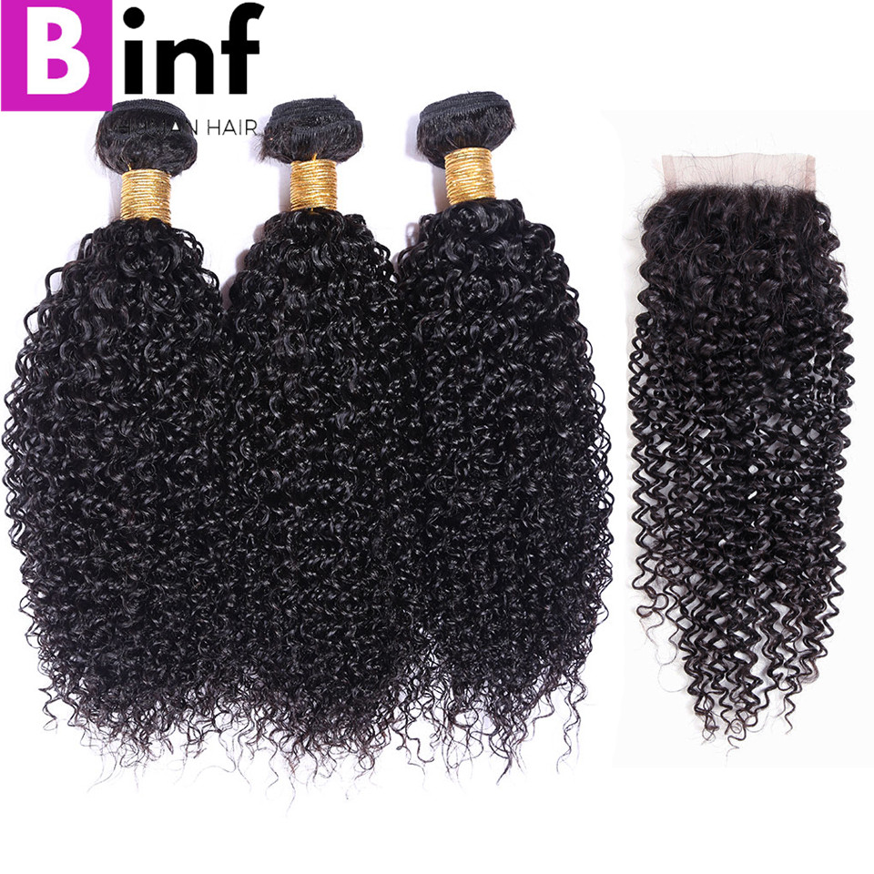 BINF Hair 3 Bundles Remy Hair Indian Kinky Curly Hair With Closure 100% Human Hair Extensions Free Shipping Color #1B Soft