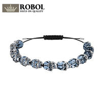 ROBOL 2018 New Dark Blue Crystal Skull Men Drawstring Bracelet Size Adjustable 5429880 Fashion Bracelet Skull Bead Bracelet