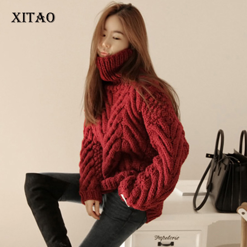XITAO New 2017 women long sleeve turtleneck pullover knitting sweater female vintage style warm solid