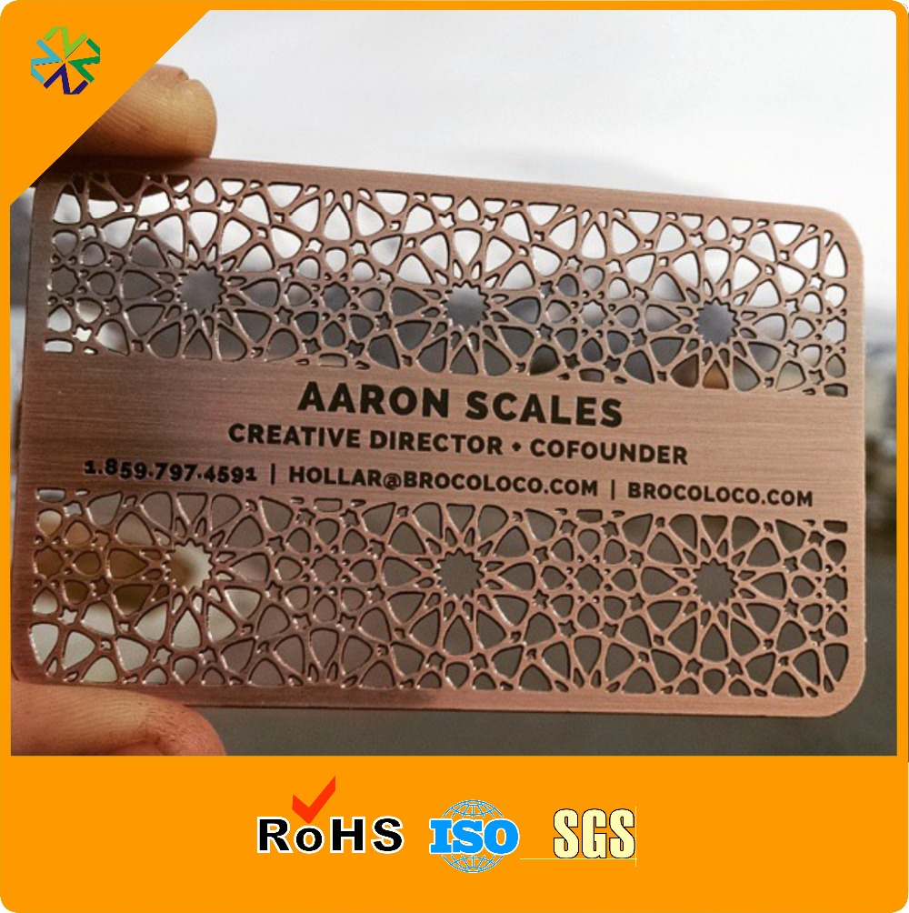 88.9*50.8mm Luxury Red Bronze Metal Cards Printing With Brushed Effect From China Supplier