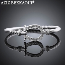 AZIZ Drop shipping famous brand horseshoe bangle 18K white gold plated bangle full clear crystal clasp cuff bracelets for women