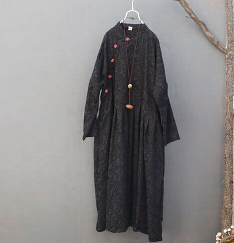 Nouvelles boutonné Femmes À D'hiver Jacquard Et De Lâche Manches Chinois Dress S495 Longues Black red Style Automne zERYqwtw