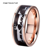 7aa9024ccdb0 Rose Gold Tungsten Rings For Men Women Polished Finish Pip Cut Deer Family  Black Wood Inlay