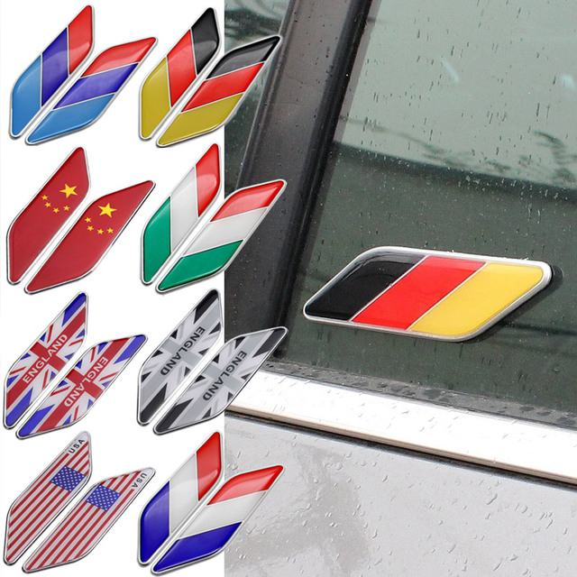 1 pair australia germany france canada usa japan italy england china flag car fender sticker decoration