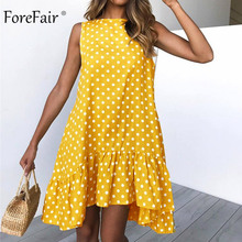 Forefair Polka Dots Dress for Women Summer Cold Shoulder Ruffle Irregular Round Neck Plus Size Casual Mini Boho Beach Dress 2019