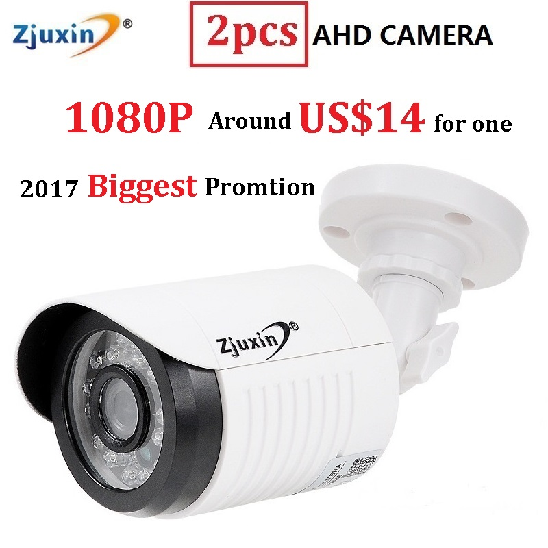 2PCS Zjuxin ahd camera 1080p 5 24 LED ahd 2mp camera with HD 3 6mm 1080p