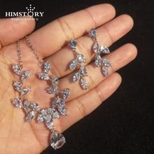Himstory Trendy Sliver Cubic Zirconia Bride Wedding Jewelry Set Woman Neckalce 925 Sterling Earring