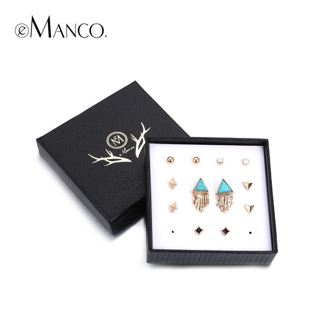 eManco turquoise crystal stud earrings sets geometric triangle tassel charm for women jewelry vintage boucles d'oreilles