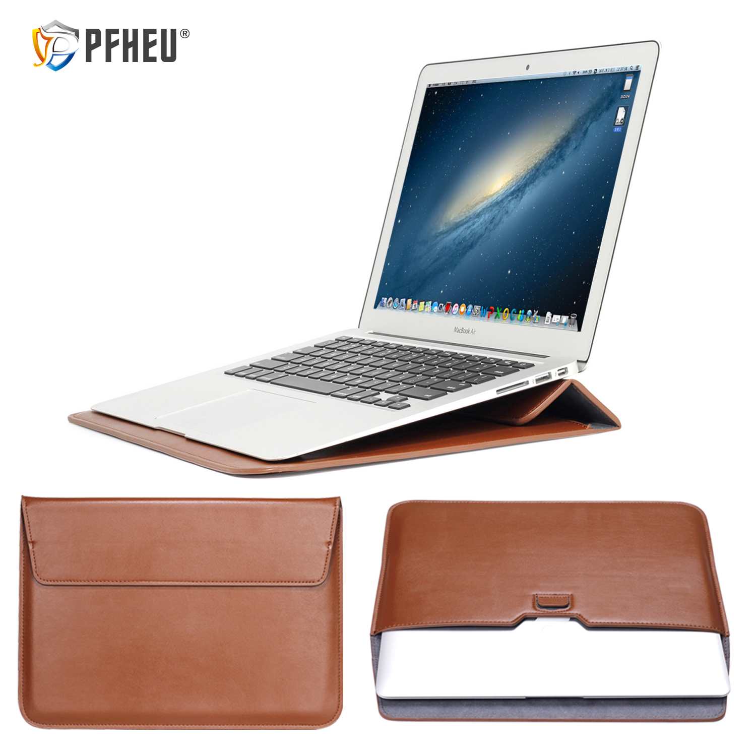 PU Leather Mail Sack Sleeve Bag Case Stand For Macbook Air Pro Retina 11 12 13 15 Notebook Laptop Cover For Mac New Air 13 A1932